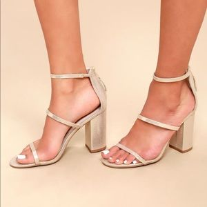 Lulus Candice Champagne Metallic Ankle Strap Heels
